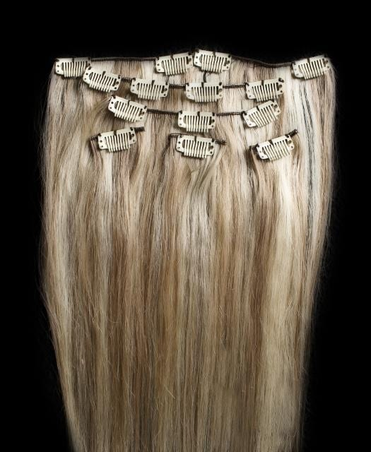 18202224 100 Highlighted Clip In Human Hair Extensions 7pcs