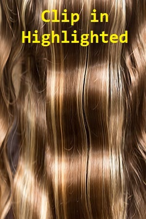 Highlighted Color Clip in Hair Extensions