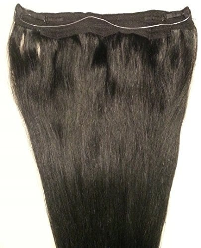 18 20 100 Human Hair Extensions Halo Style One Piece With An Adjule Invisible Wire Fishing String 1 Jet Black