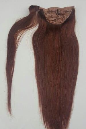 18 100 Human Hair Wrap Around Ponytail Hair Extensions 33 Dark Auburn