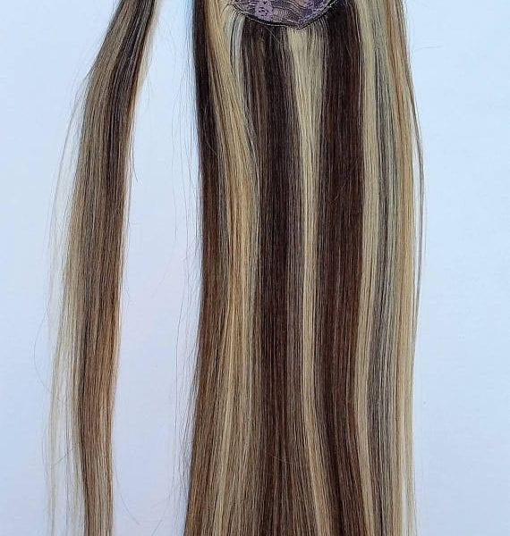 18 100 Highlighted Human Hair Wrap Around Ponytail Hair