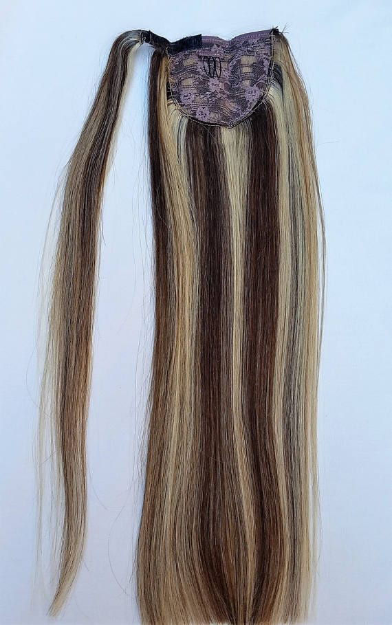 18 Quot 100 Highlighted Human Hair Wrap Around Ponytail Hair