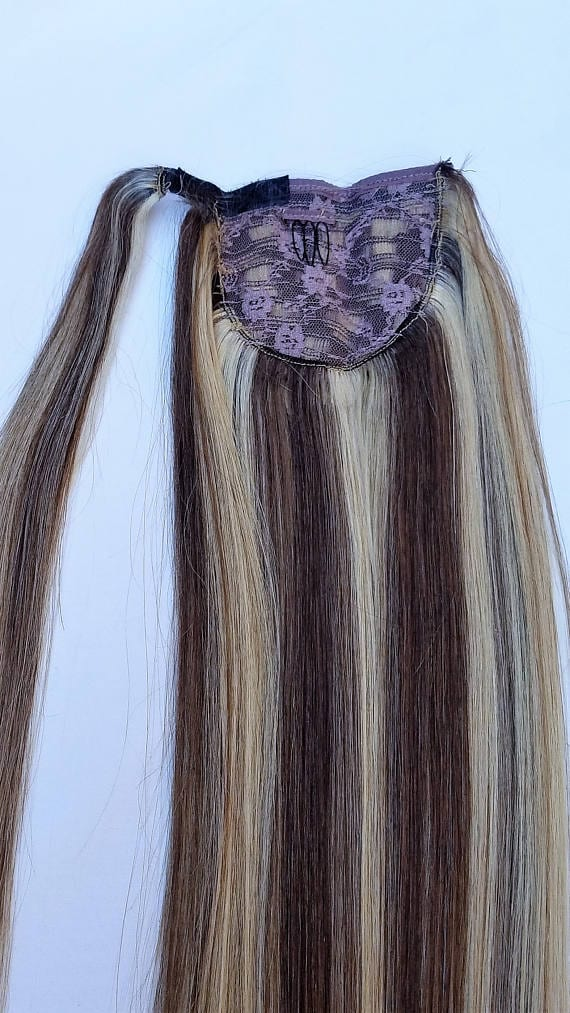 18 100 Highlighted Human Hair Wrap Around Ponytail Hair