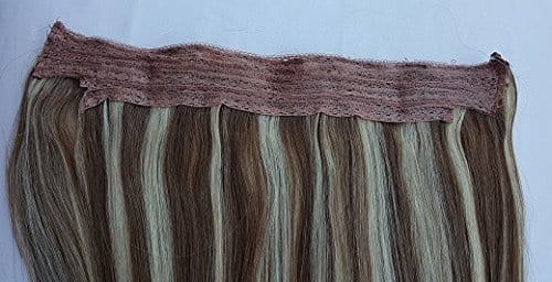 18″ 20″, 100% Highlighted Human Hair Extensions, Halo Style (ONE PIECE) with an adjustable invisible wire (Fishing String) #6/613 Medium Chestnut Brown ...