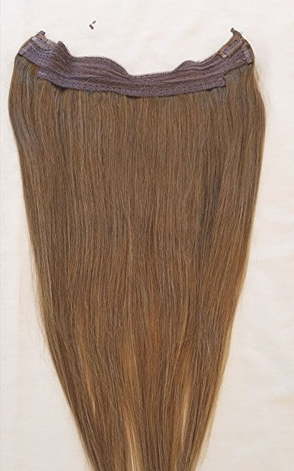 18 20 100 Human Hair Extensions Halo Style One Piece With An Adjule Invisible Wire Fishing String 8 Ash Brown