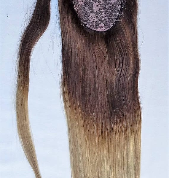 18 100 Ombre Balayage Human Hair Wrap Around Ponytail Hair