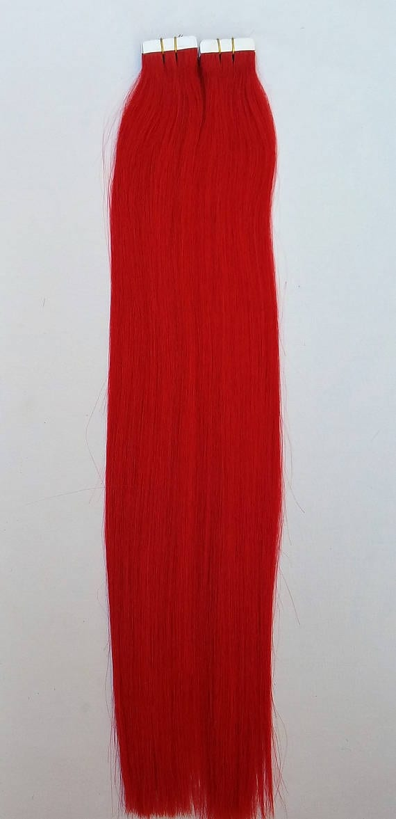 18 100grs 40pcs 100 human tape in hair extensions red hair 18 100grs 40pcs 100 human tape in hair extensions red pmusecretfo Image collections