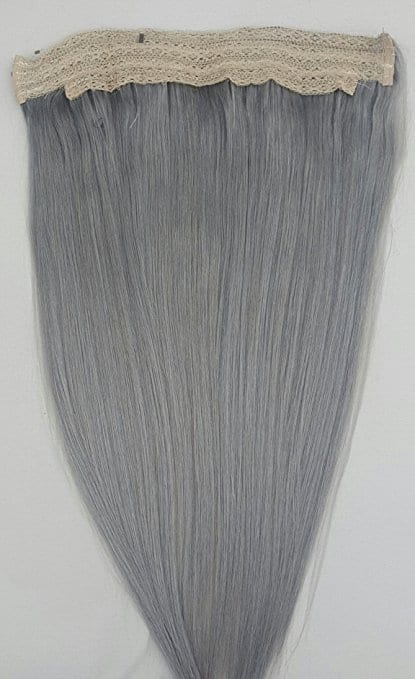 18 20 100 Human Hair Extensions Halo Style One Piece With An Adjule Invisible Wire Fishing String Sterling Silver Beautiful Gray