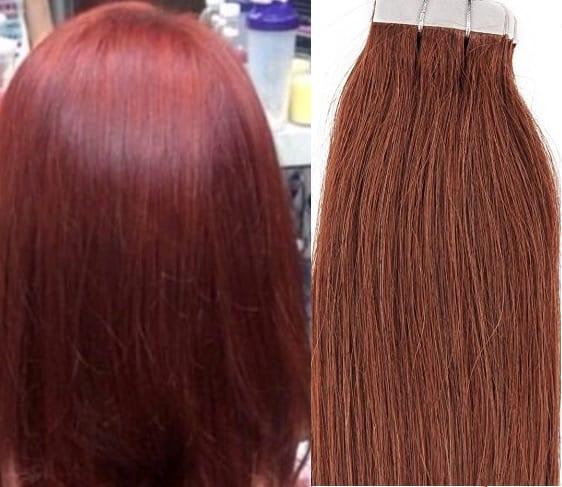 18 20 100grs 40pcs 100 Human Tape In Hair Extensions 33 Dark Auburn