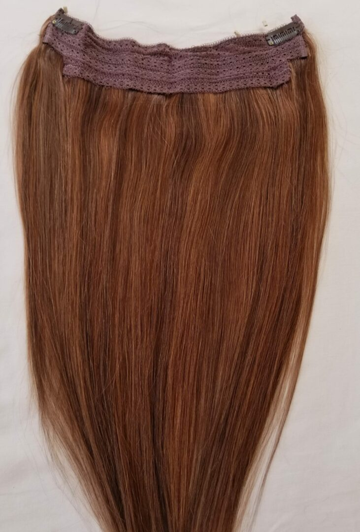 18 20 100 Highlighted Human Hair Extensions Halo Style One Piece With An Adjule Invisible Wire Fishing String 4 30 Dark Brown Mixed