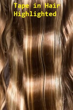 Highlighted Color Tape in Hair Extensions